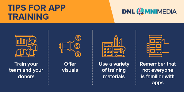 Our second tip is to train your team as apps for nonprofits are fairly new.