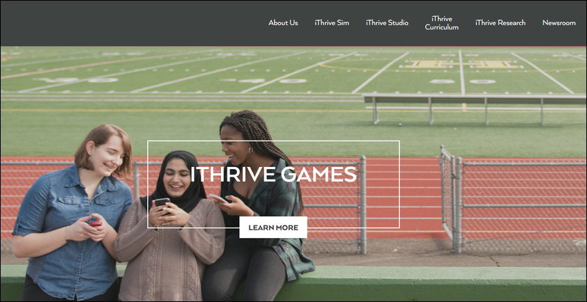 Best nonprofit sites like iThrive Games feature prominent navigation links.