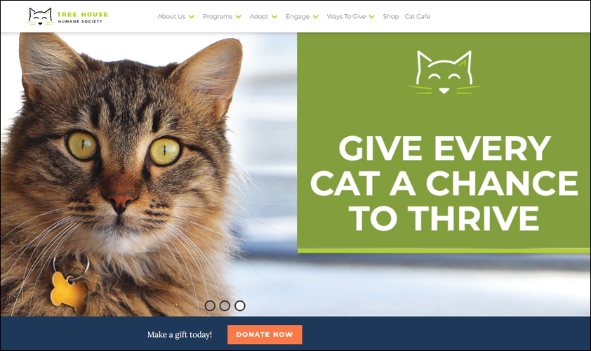 Tree House Humane Society is a top nonprofit website for its clear, bold design and integrated tools.