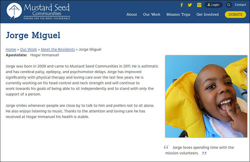 This is a screenshot of this nonprofit storytelling example.