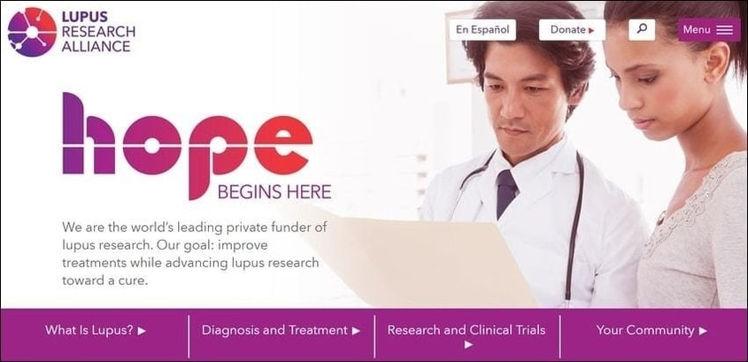 View the top-notch nonprofit website design for The Lupus Research Alliance.