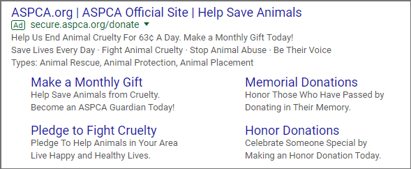 The ASPCA uses Google AdWords for Nonprofits sitelink extensions to drive users to complete different goals on their site.
