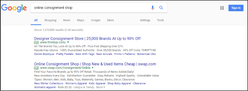 This example shows why you should avoid generic keywords with your Google AdWords for nonprofits ads.