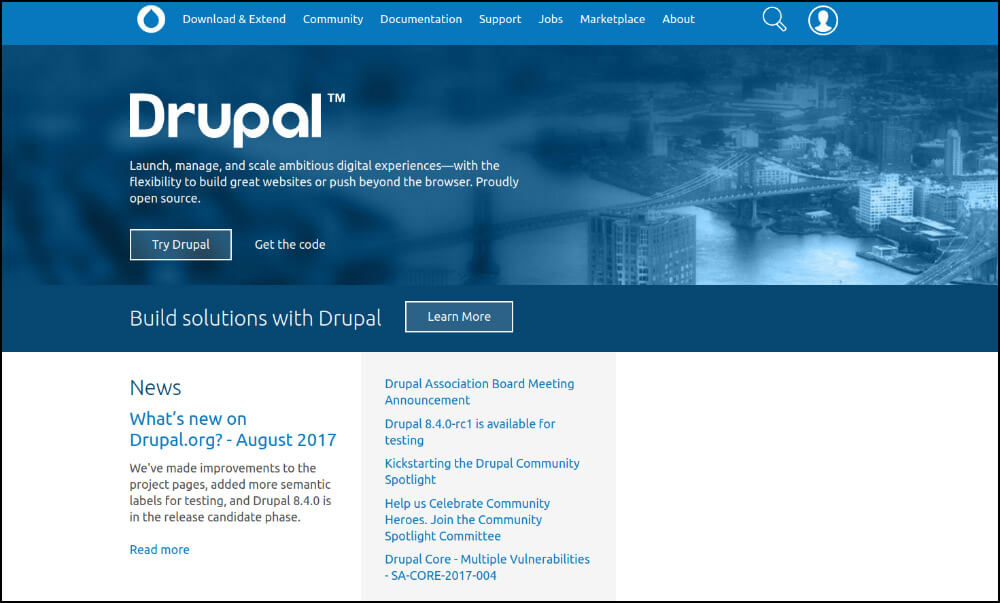 Drupal is the top nonprofit website builder for large organizations with complex web design needs.