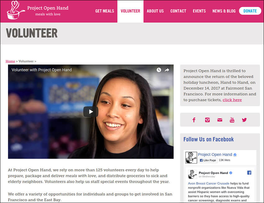 On Project Open Hand's nonprofit site, they highlight the importance of volunteers.